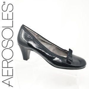 Aerosoles Playhouse black bow patent leather Heels